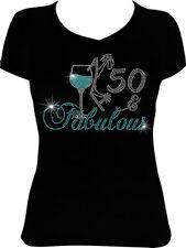 50 and Fabulous Wine Birthday Rhinestone Bling Shirt, 50th Birthday Shirt BD47