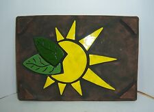 HANDMADE ECO POTTERY KEITH MILLER 1998 WALL ART SUN & LEAVES GO GREEN POTTERY