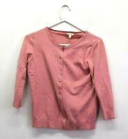 Talbots Women's Petite Small Long Sleeve Crew Neck Button Up Cardigan Pink