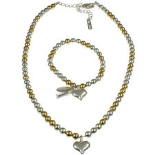 Gold and silver colour heart charm bracelet with matching bead choker necklace