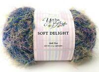 NEW YARN BEE Skein Soft Delight Fuzzy Textured Dark Blue #1108 Hobby Lobby 2004