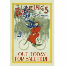 "Bearings - Winter Riding Vintage Bicycle art poster Cycling Poster 24"" x 36"""