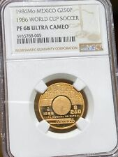 Mexico 1986 Mo Gold 1/4 oz World Cup Soccer 250 Pesos PF 68 Ultra Cameo NGC 005