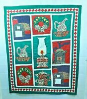 Vintage Christmas Quilt Handmade Hand Stitched Wall Hanging with Sleeve 48 x 58