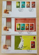 Hong Kong 2011 Zodiac Year of the Rabbit, 4v Stamps MS & imperf MS, set of 3 FDC