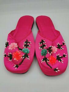 Unbranded vintage ladies slippers floral pink size 5 new 003