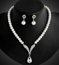 Women Bib Collar Choker Chunky Crystal Chain Pendant Statement Pearl Necklace