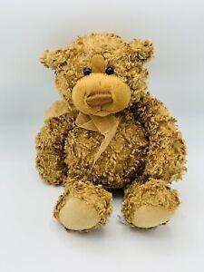 """GUND HIGGINS THE BROWN TEDDY BEAR 10"""" Curly Fur Plush STUFFED ANIMAL Toy 15031"""