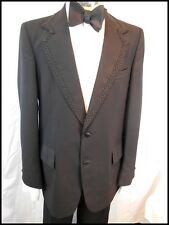 Vintage 70s Black 2-Piece Wool Blend Tuxedo Formal Suit Size 41 W35 Brocade Trim