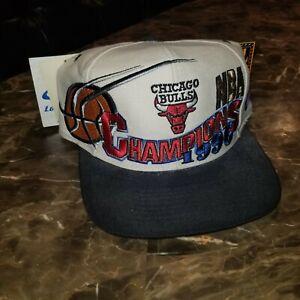 Vintage 1996 Chicago Bulls Hat Cap NBA Champions The Last Dance Locker Room Logo