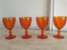 SET 4 ORANGE COLOURED GLASS GOBLETS...WINE / WATER GLASSES
