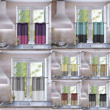 """1 SET SHORT WINDOW CURTAIN  SMALL KITCHEN TIER PANEL 2-TONE LINED PRIVACY 36"""" L"""