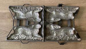 Antique Vintage Anton Reiche Dresden Metal Chocolate Mold Double Bunny Rabbit