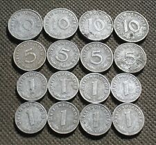 LOT OF SIXTEEN AUTHENTIC OLD COINS NAZI GERMANY SWASTIKA WORLD WAR II - MIX 775