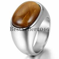 Mens Stainless Steel Band Manmade Oval Tiger's Eye Signet Wedding Ring Size 7-13