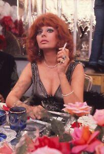 SOPHIA LOREN Original 1970s 35mm Sexy Color Glamour Slide SMOKING vv