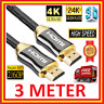 3M PREMIUM 4K HDMI CABLE 2.0 HIGH SPEED GOLD PLATED BRAIDED LEAD 2160P HDTV UHD