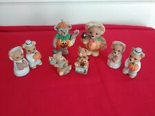8Pc Lot Vtg Homco Home Interiors Claire'S Bear Figurines Fall Pumpkins