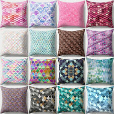 Mermaid Fish Scales Sofa Home Decorative Throw Pillow Case Cushion Cover Novelty
