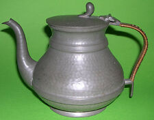 """English """"Unity"""" Pewter - Attractive Teapot - Hand Hammered Look / Wicker Handle"""