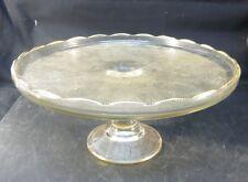 "Vintage 1950s Jeannette Glass Harp Lyre 10"" Pedestal Cake Stand w/Gold Trim"