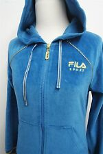 FILA SPORT velour women's full zip track jacket sz XS w/ cinch hoodie #7701