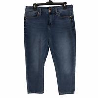 Seven7 Womens Blue Medium Wash Capri Denim Girlfriend Jeans Size 10