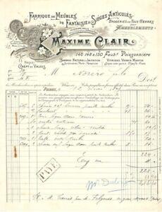 Ancienne Facture MAXIME CLAIR MEUBLES FANTAISIE BAMBOU -  CRÉPY EN VALOIS 1899