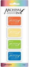 Almohadillas de Tinta Ranger Archival Kit #3 4pc Mini colorante ácido libre de tinta permanente