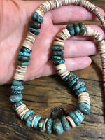 """#1192 Turquoise and Heishi 20"""" Necklace, Sterling Silver Beads, Hook Eye Clasp"""