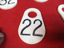 VINTAGE COW NUMBER TAG DAIRY FARM CATTLE MARKER 22 DOUBLE SIDED ORIGINAL PLASTIC