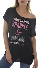 GUESS Black Graphic Large Logo Sparkly Tee Sizes XS-XL BNWT