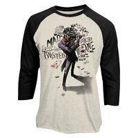 Official DC Comics Batman - Joker Insane Raglan 3/4 sleeve baseball t-shirt