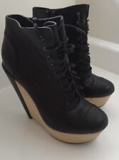 KELSI DAGGER Women's Black Leather Wedge 'Adabella' Bootie Size 8 M Boot Lace