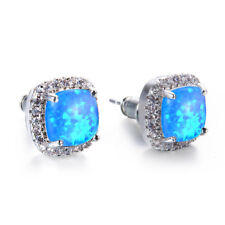 Square Blue Fire Topaz 925 Sterling Silver Plated Gems Woman Stud Hook Earrings