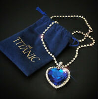 Blue Crystal Pendant with Pure Silver Necklace Titanic Heart of the Ocean+ velve