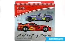 Street Drifting Madness Stencil Art Portfolio Racing Car Kids Design Collection