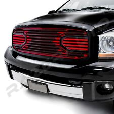 Big Horn Black+Red Front Hood Grille+Replacement Shell for 06-08 Dodge RAM