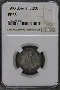 Philippines 1903 USA-Phil 20 Cents NGC PF 63    S440
