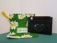 Authentic Brighton Croc Leather Zip Top Card Coin Holder Purse Heart Storage Bag