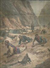 K0591 Pellegrini si trascinano intorno una montagna del Tibet - Stampa antica
