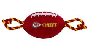 Pets First Kansas City Chiefs Tough Nylon Rope & Squeaker Football Dog Toy, Red