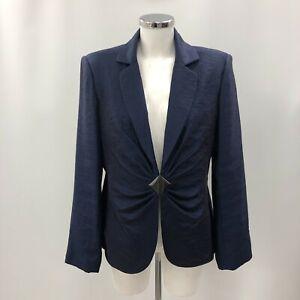 Gina Bacconi Blazer Womens UK 16 Blue Long Sleeved Business Formal 290929