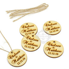 Personalised Engraved Couple Names Wooden Round Tags With Twine Wedding Favours