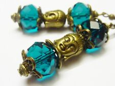 Crystal Bronze Cyan Blue Buddha Earrings 54mm Handmade Costume Jewellery