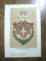 1891 STAMPA ANTICA CROMOLITOGRAFIA STEMMA DEL REGNO D'ITALIA approvato nel 1890