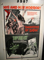 DAUGHTERS OF SATAN/SUPERBEAST 1sh Movie Poster '72 horror double-bill, his & her