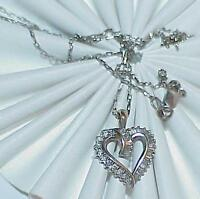 "14K .50ct Diamond Heart Baguettes Pendant Necklace White Gold Vintage 18"" chain"
