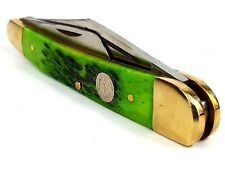 "Vintage 8"" Folding Pen Knife - 3 Blades - Real Bone Handle - Brass Bolsters"