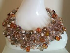 Handmade Yellow Crystal Natural Stones Statement Necklace NWOT Fabulous!